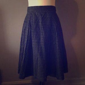 Black waffle patterned full skirt